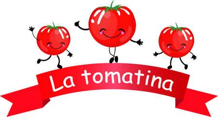 illustration innovante de l'affiche de la tomatina, bataille de tomates vue - vecteur