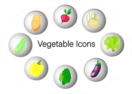 Flat Design Icons For Vegetables.