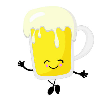 Beer is a cute character on a white background.