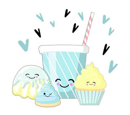 Sweet dessert. Cartoon style vector icons. set of sweet dishes illustration