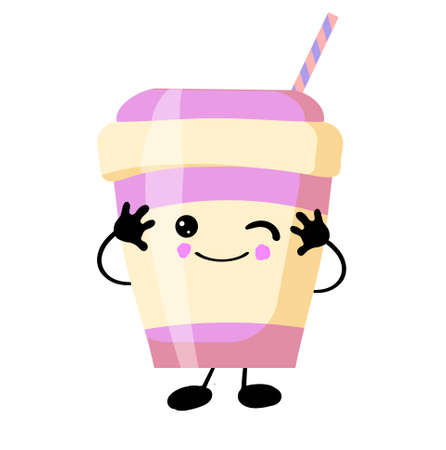 milkshake with eyes and a smile on a white background