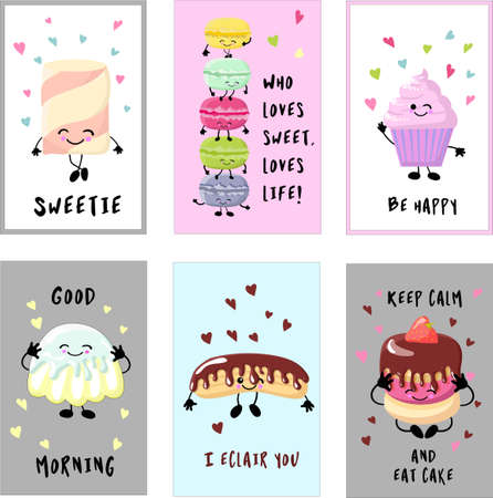 Cards for your holiday cupcakes with cream, ice cream with waffle cones, Kawaii popsicles with pink cheeks and winking eyes, pastel colors on. Illustration