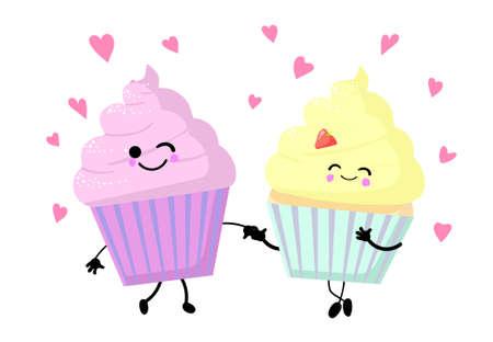 Vector illustration of various cartoon style pieces of cake. Ilustração