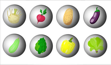set of cute vegetables icons
