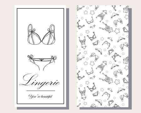 Logo and seamless pattern for Fashionable womens lingerie collection, vector illustration sketch. BRAND STYLE of womens lace underwear, panties, bras, corsets, bodies, garters, stockings, pajamas,.