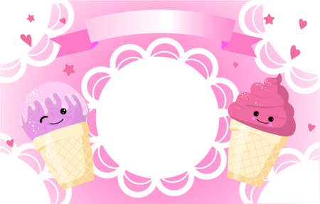 label for an ice cream product. blue snow background. funny characters.