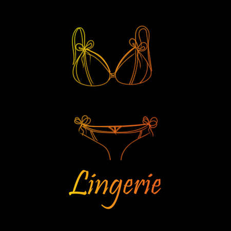 Fashionable lingerie collection for women, vector sketch illustration.