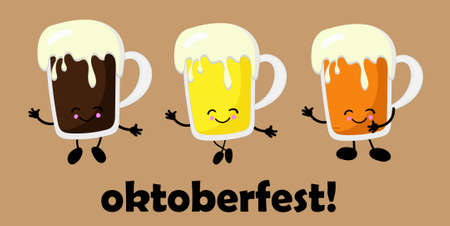 Oktoberfest design vector template for banners, posters, flyers, menus, etc. MULTI CHARACTER..