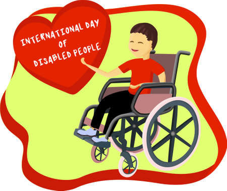 A boy with a smile on his face. Wheelchair user. Ilustrace