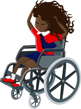 Young disabled black female character sitting in a wheelchair. Disabilities. Daily life. Flat editable vector illustration, clip art.. Çizim