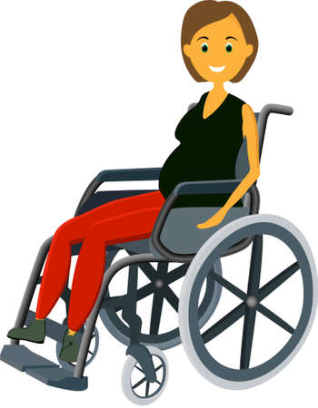 A pregnant woman is sitting in a wheelchair.