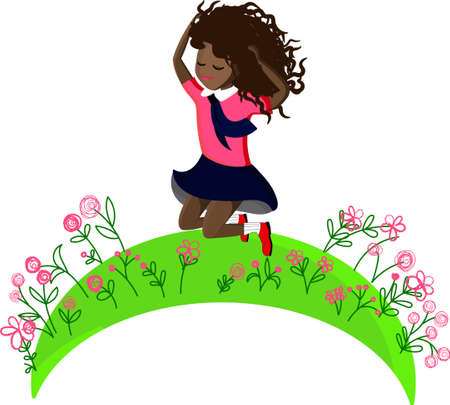 Cheerful black girl jumping in a clearing with flowers. Schoolgirl in a school uniform