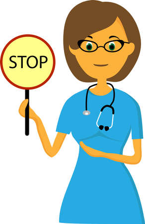 DOCTOR BAN. DOCTOR WITH A SIGN OF STOP. Harm to health. Иллюстрация