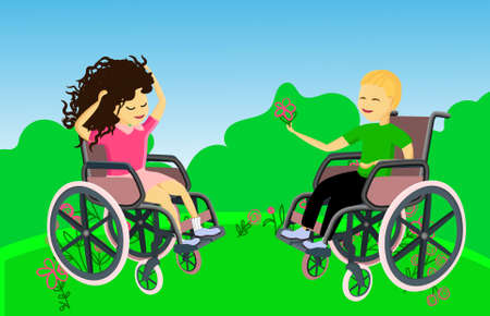 Boy and girl in nature. Disabled children in wheelchairs
