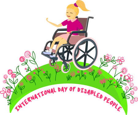 girl in nature. Disabled children in wheelchairs. The child looks at the flowers and is happy. Logo or greeting card with international disabled day
