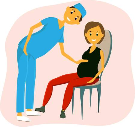 Woman at the doctor s appointment. She is sitting on a pregnant chair