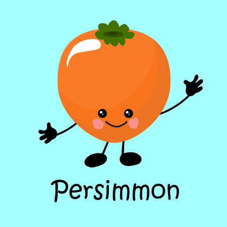tropical exotic persimmon fruit Character with face and smile. Card for teaching children. Healthy and wholesome food