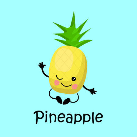 tropical exotic fruit pineapple Character with face and smile. Card for teaching children. Healthy and wholesome food