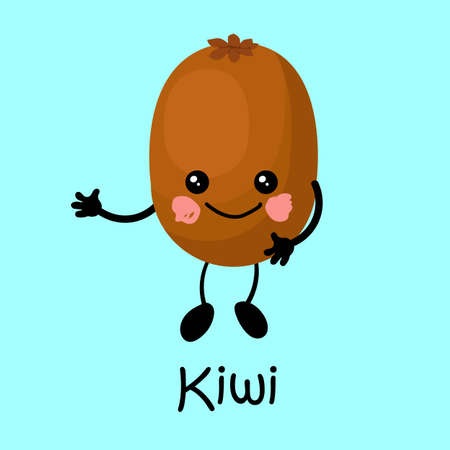 tropical fruit kiwi character with face and smile. Card for teaching children. Healthy and wholesome food
