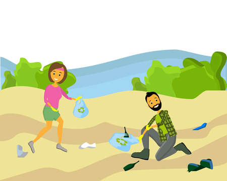 Beach cleanup flat composition with volunteers collecting washed up rubbish bottles drinking beakers plastic junk vector illustration