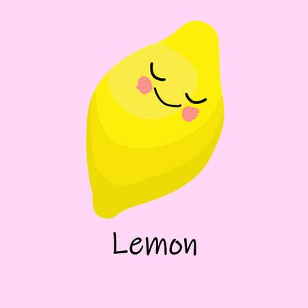 Limone. personaggio comico divertente. parole di apprendimento. carte interattive per bambini
