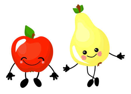Apple and pear. Fruit funny characters for educating children. The card is beautiful and bright. Healthy food.