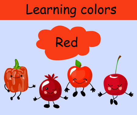 Bell pepper, pomegranate, apple and cherry. Fruit funny characters for educating children. Learn red color. The card is beautiful and bright. Healthy food.