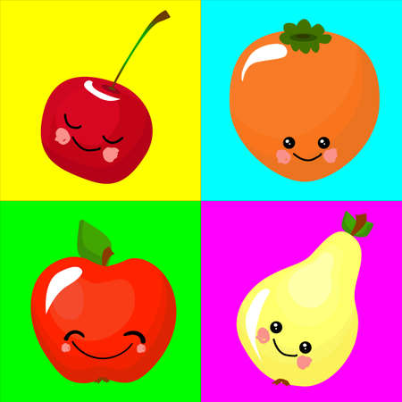 Cherry, persimmon, apple, pear. Funny fruits for educating children. The card is beautiful and bright. Healthy food.