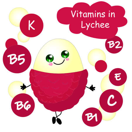 Lychee Vitamin content in fruits. Cute character with hands and face..