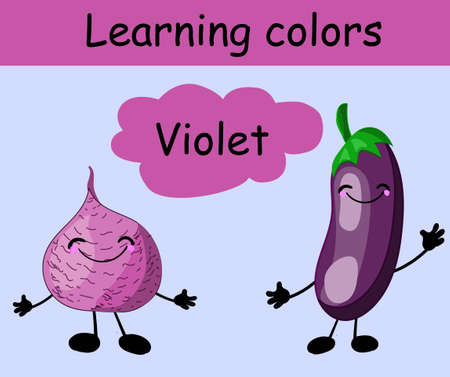 Sugar beets and eggplant. Learn colors. Purple. Vegetables. Cute character with hands and face. Card for teaching children