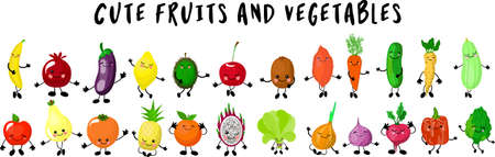 fruits and vegetables. Big collection of characters gesturing and waving their hands.white background. Different mixed together Smiling . Imagens - 129898396
