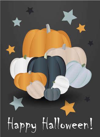 Halloween background, pumpkins. Greeting card for party and sale. Autumn holidays. Vector illustration EPS10. Ilustração