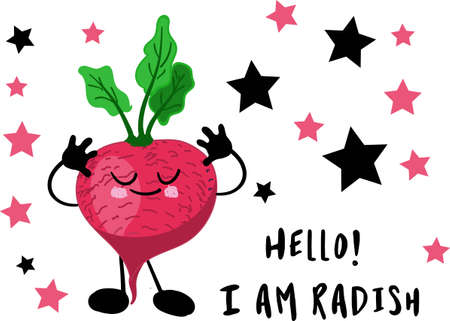 Radish character. Greeting card or poster for children's learning, printing on clothes or utensils. Character with a face and a smile. Good nutrition. Healthy breakfast