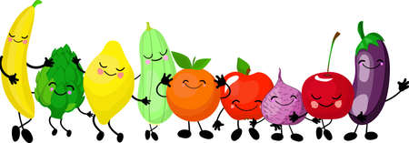 Very adorable fruits and vegetables. Big collection. characters gesturing and waving their hands. Smiling fruits isolated on the white background. Different fruits mixed together.