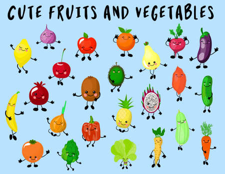 Big set of vegetables and fruits isolated. The characters are funny and cute. Products with eyes and smiles. Healthy food