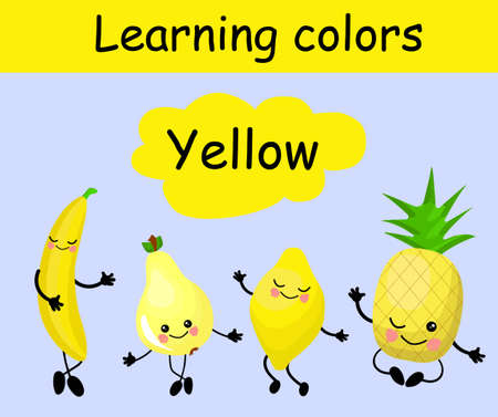 Lemon, pineapple, pear and banana. Fruits are yellow. Card for children. Learn colors. Yellow. The characters are funny and cute. Fruit with eyes and smiles. Healthy food Stockfoto - 129898646