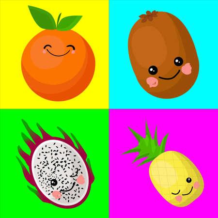 Orange, kiwi, dragon fruit, pineapple, pitaya. Funny fruits for teaching children. Stockfoto - 129898647