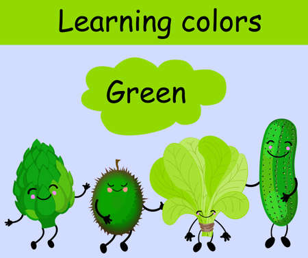 Artichoke, cucumber, spinach and durian. Fruits and vegetables of a whole color. Card for children. Learn colors. The characters are funny and cute. Fruit with eyes and smiles. Healthy food