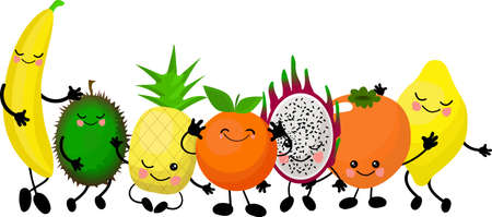 Funny emotional smiling fruits and vegetables. Smiling faces. Cute food characters. Farm product. Vegetarian food. Hand drawn kids illustration. Vector background. Childish drawing.