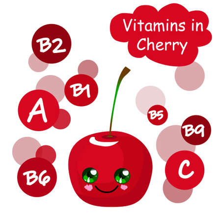 Cherry character. Tropical fruits are exotic. The content of vitamins. Healthy food.
