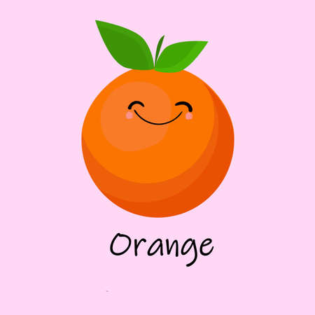 Orange Cute fruit cartoon character isolated on pink vector background. Funny positive and friendly orange face emoticon icon. Happy smile cartoon face food, funny fruit mascot..