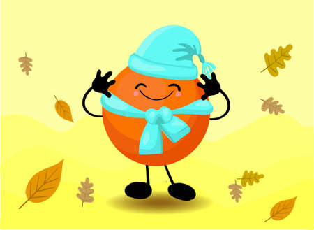 an orange in a hat. Vitamins in the fall. Citrus fruit. Cute kawaii characters. Autumn Vitamin Lack