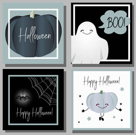 Vector set of six cartoon style Halloween poster designs with halloween symbols and calligraphy. Funny halloween card. Sale design..