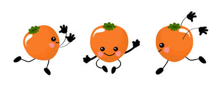 Persimmon kawaii character dancing in various poses. Fruits are funny and healthy.