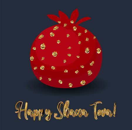 Rosh hashana greeting card with abstract pomegranate illustration. Modern Jewish New Year greeting card design in trendy colors.