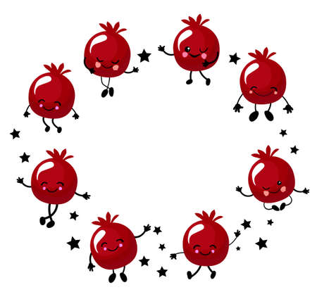Shana Tova vector greeting card with cute pomegranate round frame for Rosh Hashanah, jewish new year, traditional holiday.