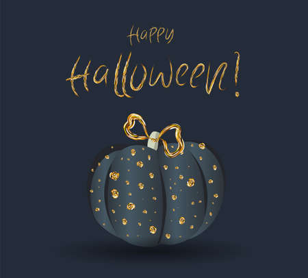 Festive chic elegant postcard. Beautiful Halloween. Golden pumpkin on a dark background.