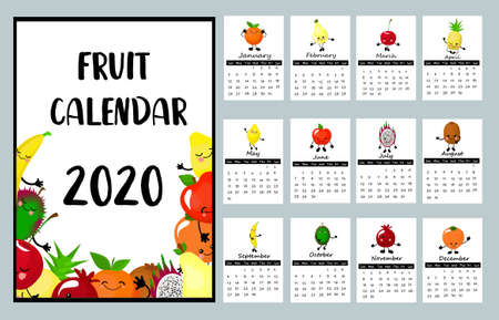 Calendar 2020. Glider for children. Fruit calendar. Funny characters.