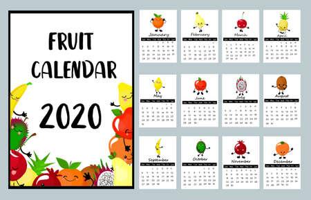 Calendrier 2020. Planeur pour enfants. Calendrier des fruits. Personnages drôles.