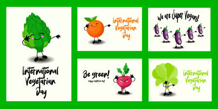 Set of greeting cards for World Vegetarian Day and Vegan. Cute vegetables characters and funny lettering. Stock Illustratie